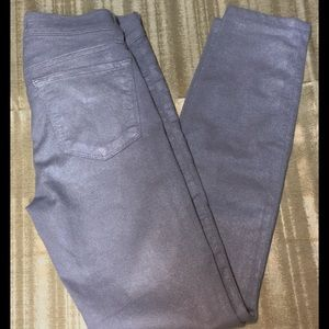 J Brand Silver Glitter Coated Pants Size 0/25